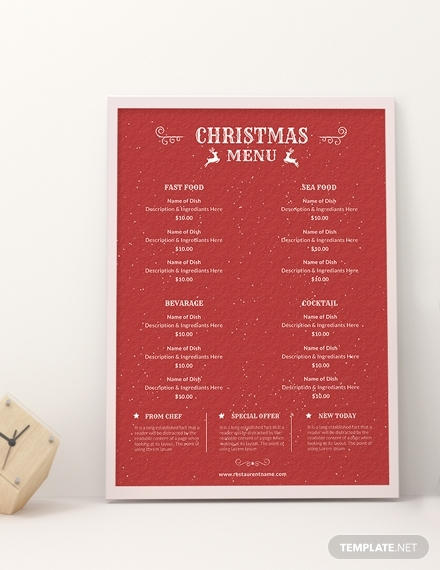 retro christmas menu design