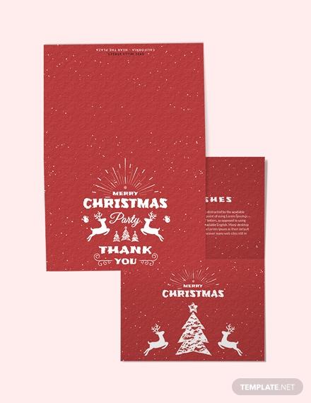 retro christmas thank you card