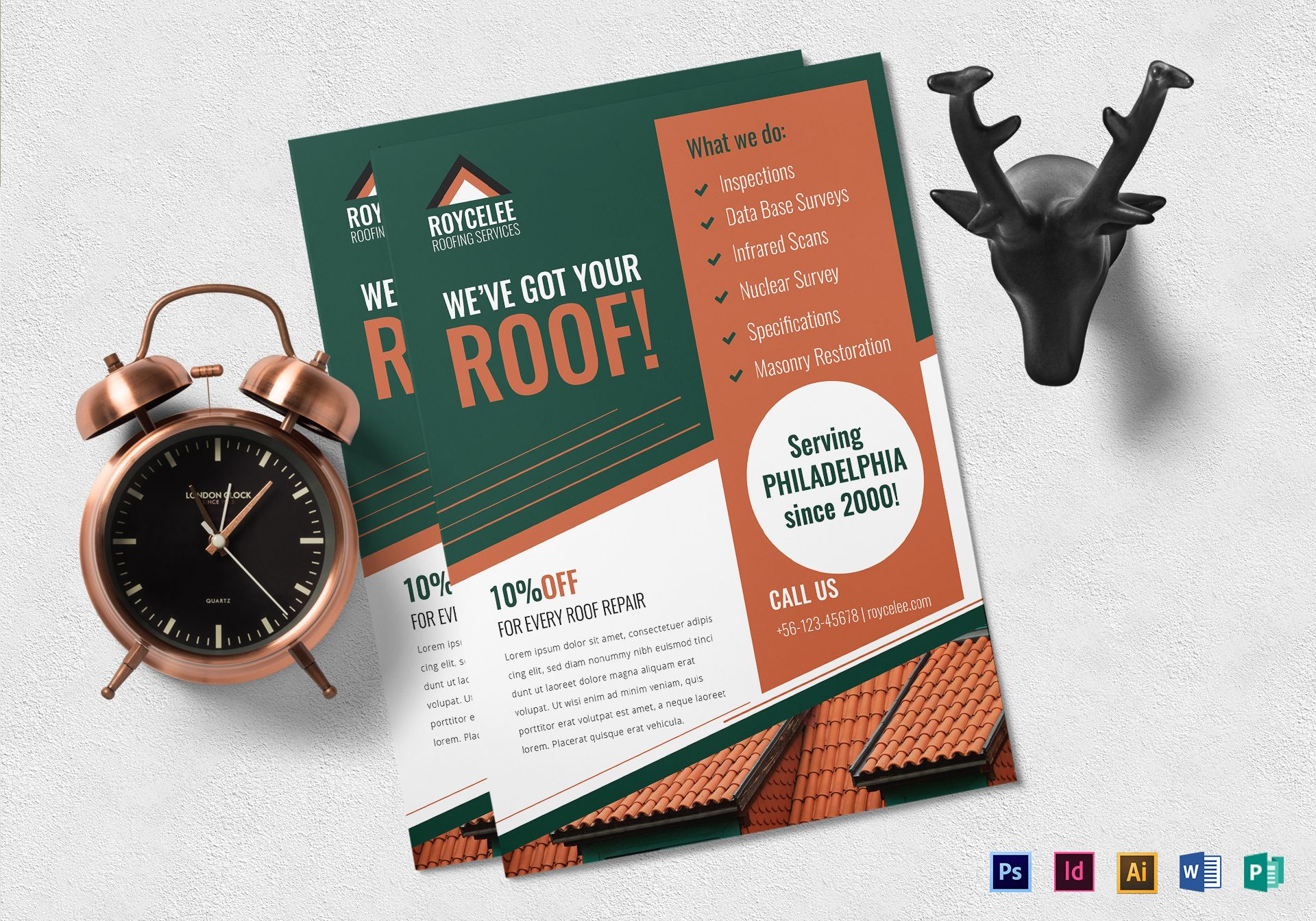 Roofing Services Construction Company Flyer