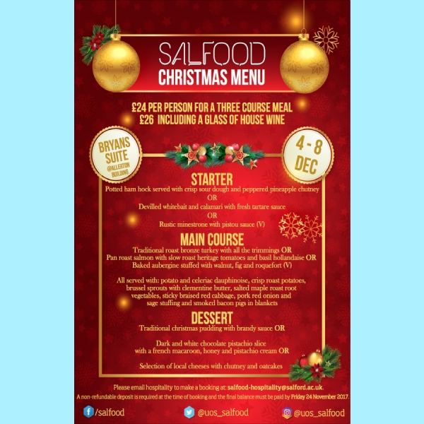 salford university christmas event menu