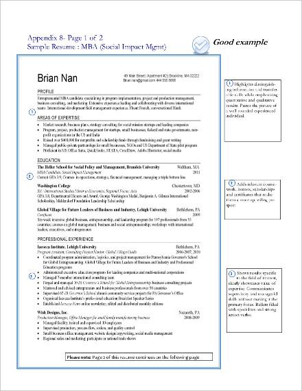sample resume for social impact management1