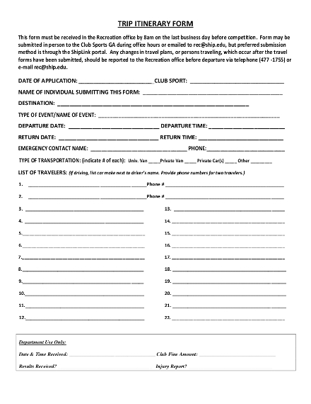 sample travel itinerary form