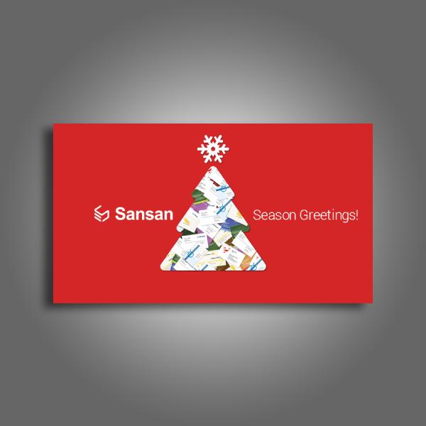 sansan christmas thank you card