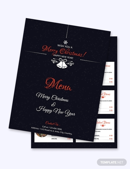 simple christmas menu card sample