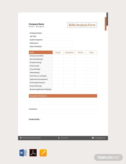 skills analysis form