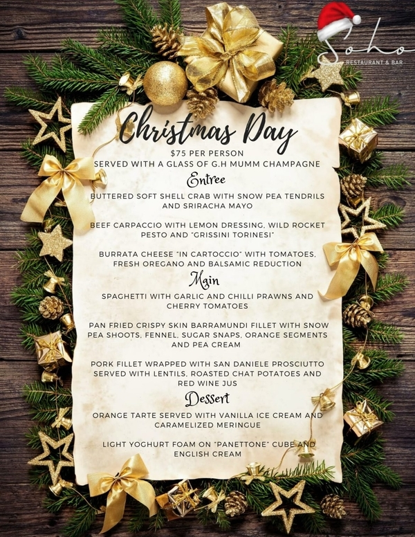 soho christmas day menu
