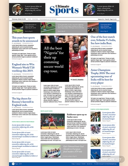 sports newspaper template
