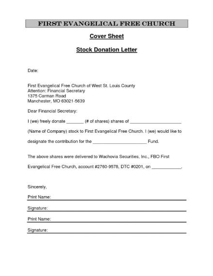 stock donation letter