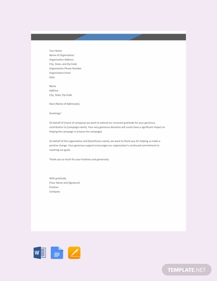 thank you letter for donation template