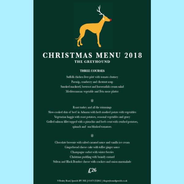 the greyhound restaurant christmas menu