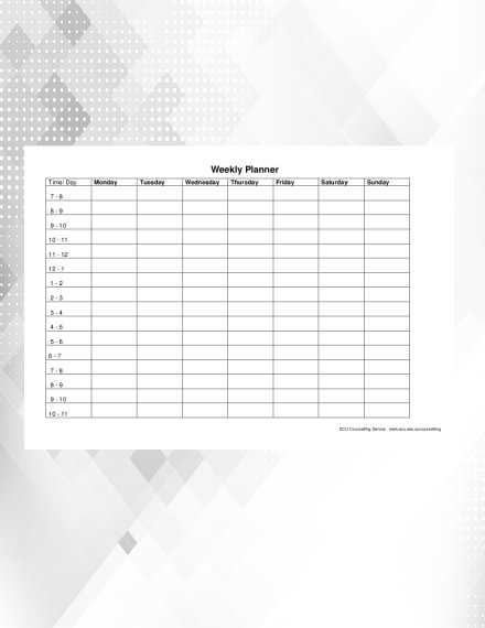 time management weekly planner