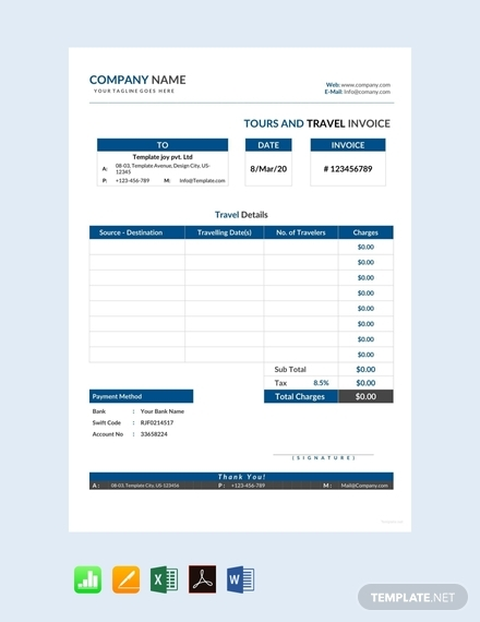 tour and travel invoice