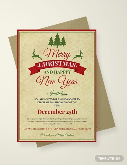vintage christmas invitation