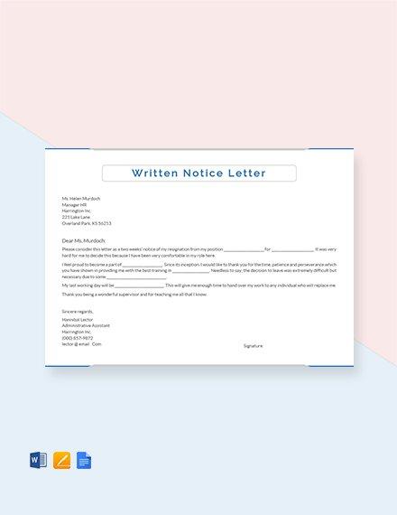 written notice letter