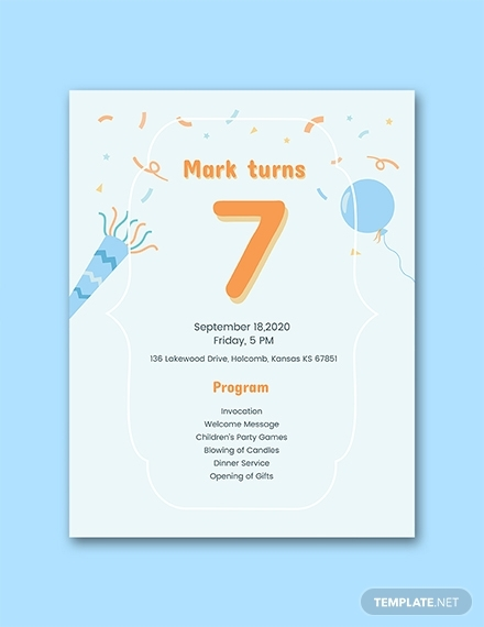 7th birthday program
