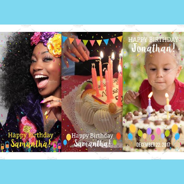 9 happy birthday snapchat filters set
