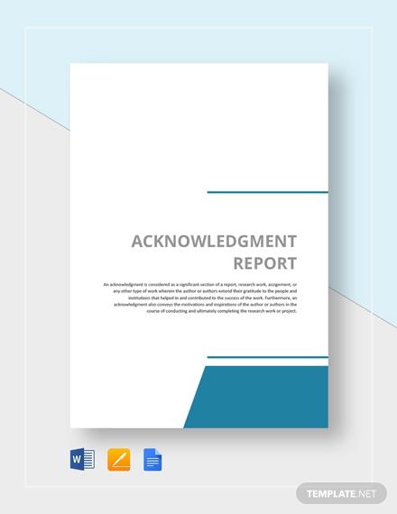 acknowledgment report