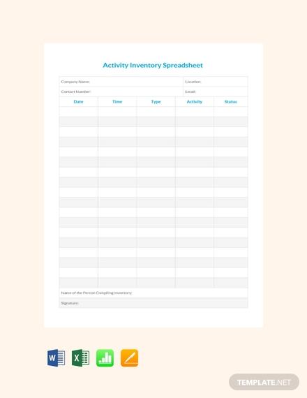 activity inventory spreadsheet