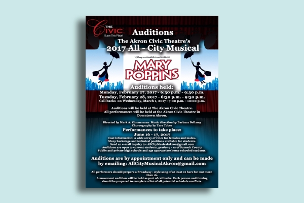 akron civic theatre auditions flyer