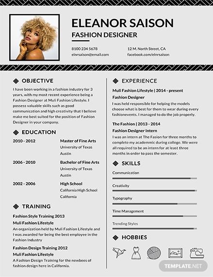 assistant fashion designer resume