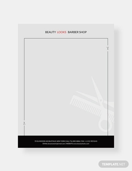 barbershop letterhead