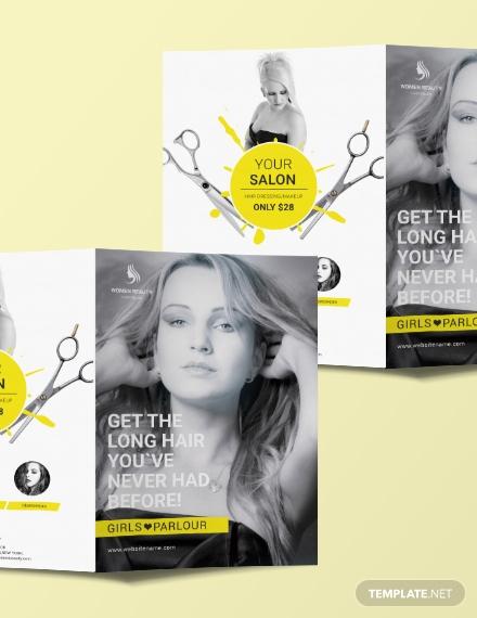 beauty parlor a3 bifold brochure