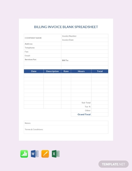 billing invoice blank spreadsheet