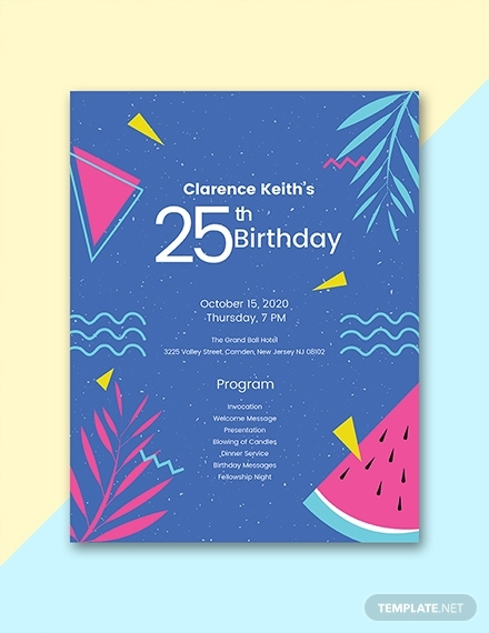 birthday program template