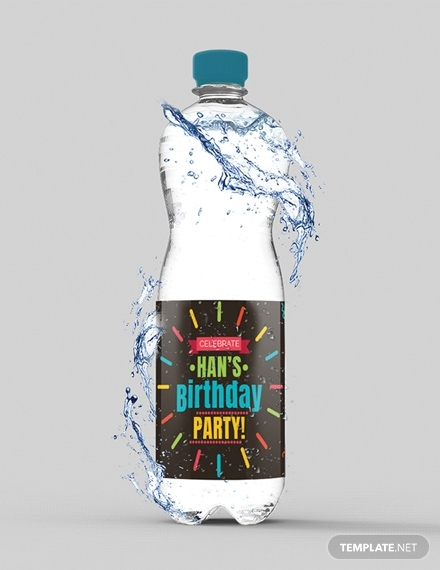 birthday water bottle label