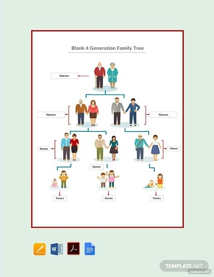 blank 4 generation family tree