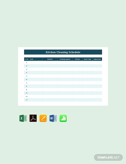 blank kitchen cleaning schedule