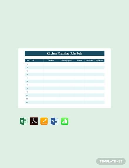 blank kitchen cleaning schedule