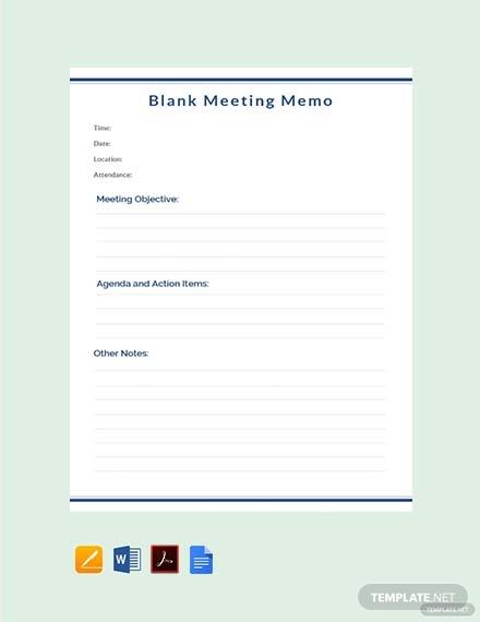 blank meeting memo