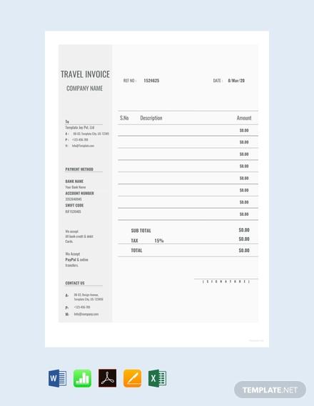 blank travel invoice sample