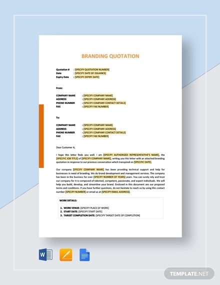 branding quotation template