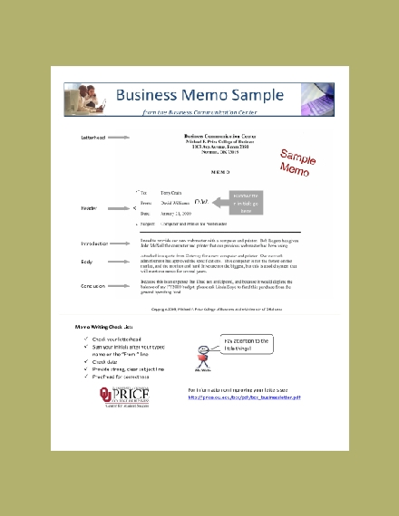 business communication center memo