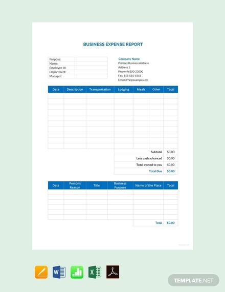 business expense report design