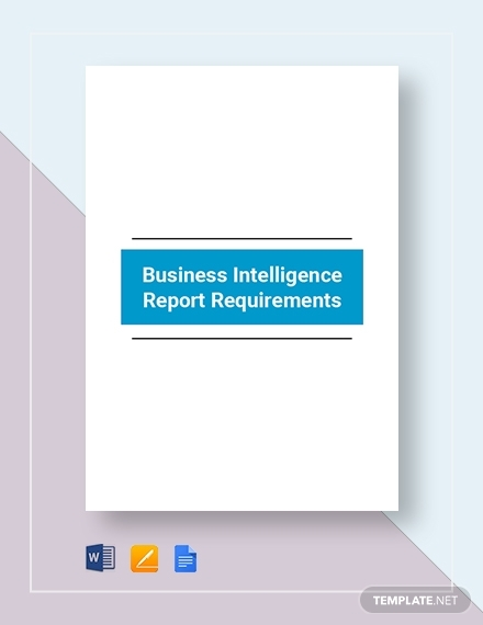 business intelligence report requirement