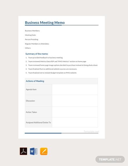 business meeting memo template