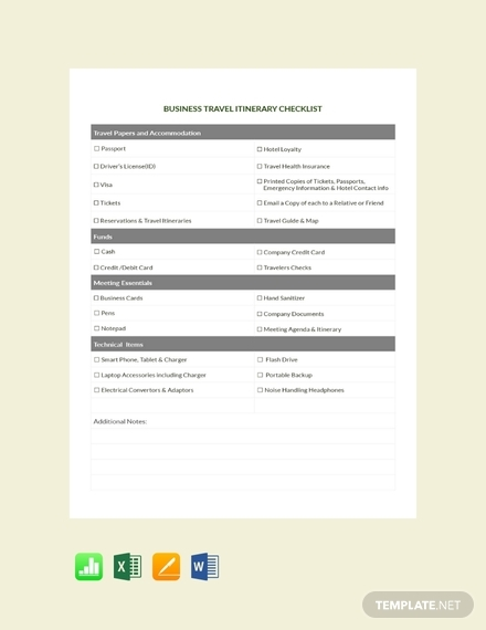 business travel itinerary checklist template