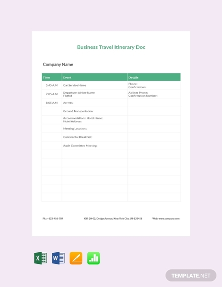 business travel itinerary document1