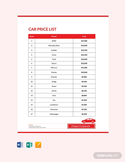 car price list