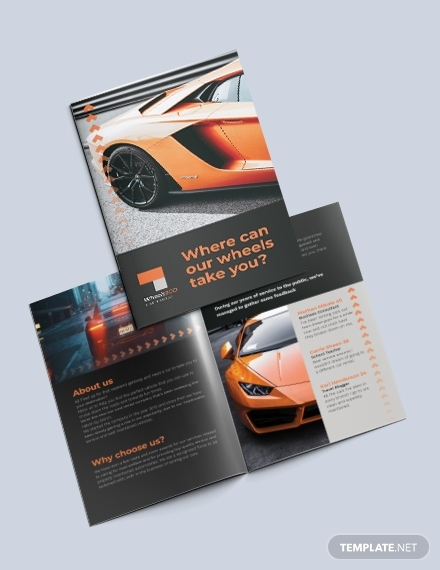 car rental bi fold brochure