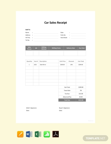 car sale receipt