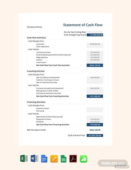 cash flow statement sheet