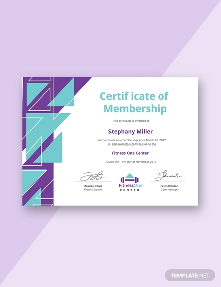 certificate gym membership sample