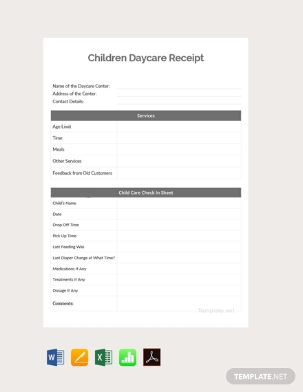 children daycare receipt template