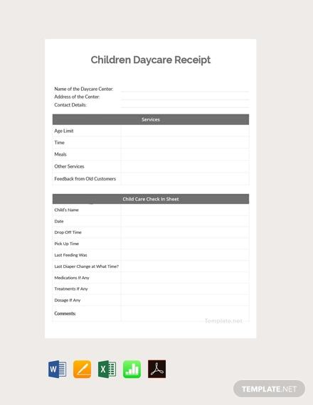 children daycare receipt1