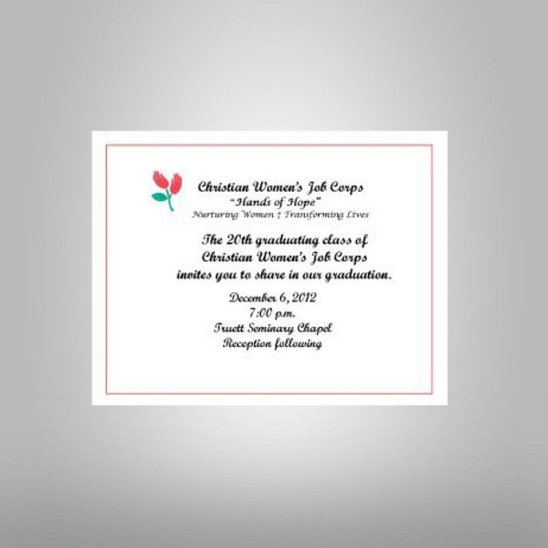 christian womens job corps graduation invitation