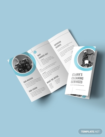 cleaning company tri fold brochure
